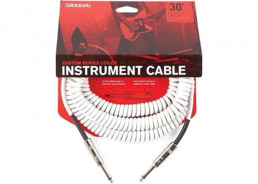 D'Addario PW-CDG-30WH Coiled Instrument Cable - White (9m): 1