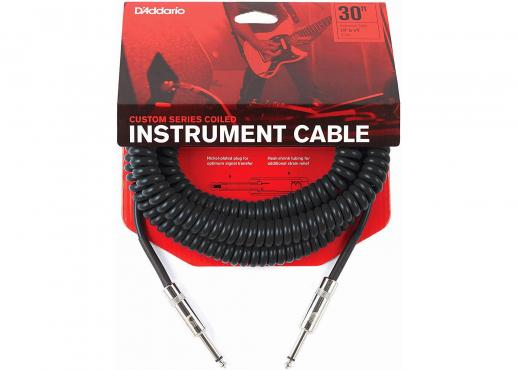 D'Addario PW-CDG-30BK Coiled Instrument Cable - Black (9m): 1