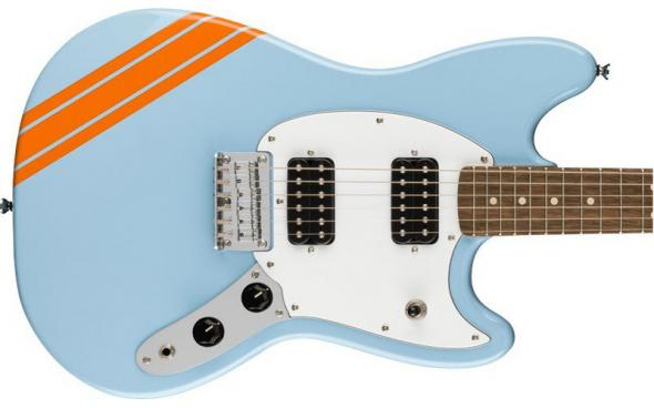 Squier by Fender BULLET MUSTANG FSR HH DAPHNE BLUE w/COMPETITION STRIPES: 3