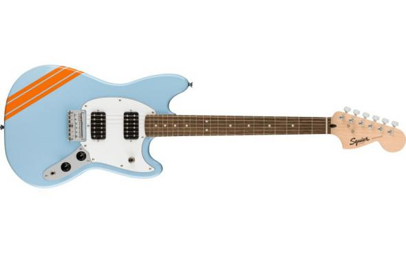 Squier by Fender BULLET MUSTANG FSR HH DAPHNE BLUE w/COMPETITION STRIPES: 1